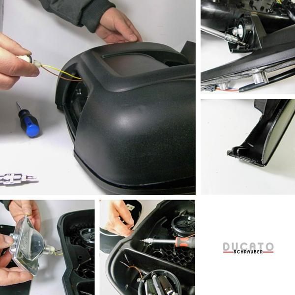 Fotocollage vom Lösen der elektronischen Kontakt beim Ducato.