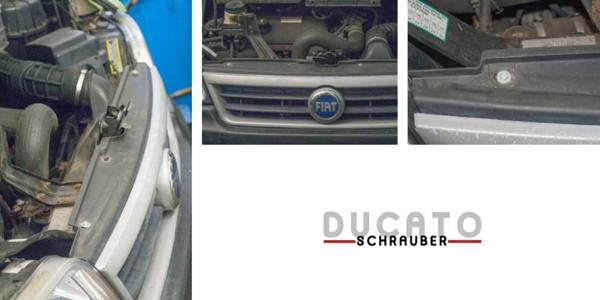 Ausbau des Kühlergrill beim Auswechseln der unteren Traverse - Ducatoschrauber