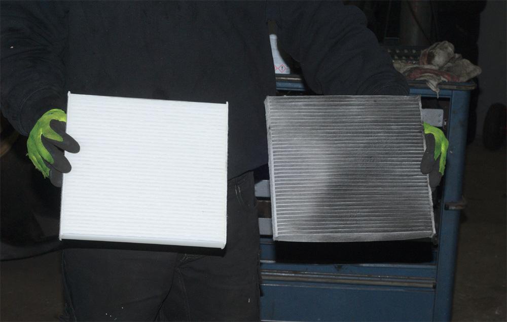 Vergleich alter und neuer Pollenfilter aus dem Ducato.