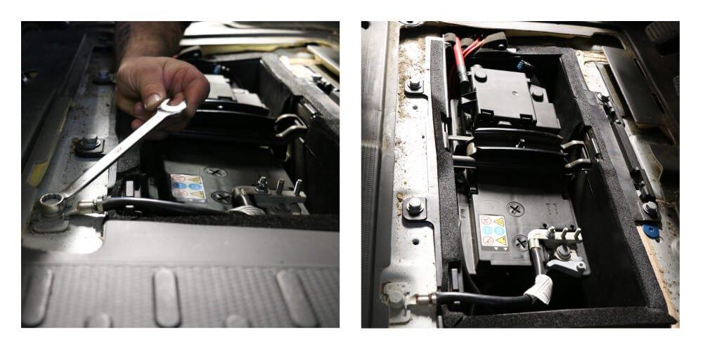 Detailaufnahme vom Batterieabklemmen beim Fiat Ducato Typ 250 im Fußraum des Fahrzeugs