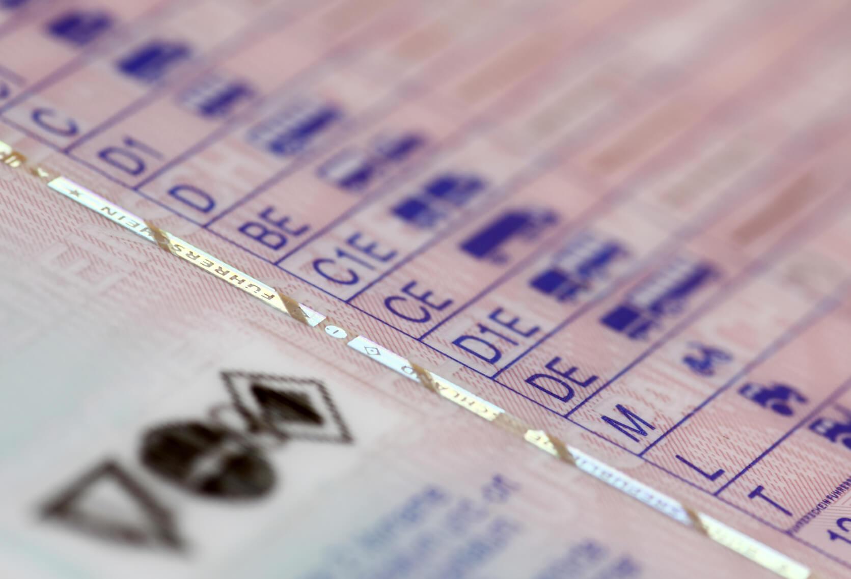 Detailaufnahme eines Führerscheins; die Führerscheinklassen C, D1, D, BE, C1E, CE, D1E, DE, M, L und T sind zu erkennen.