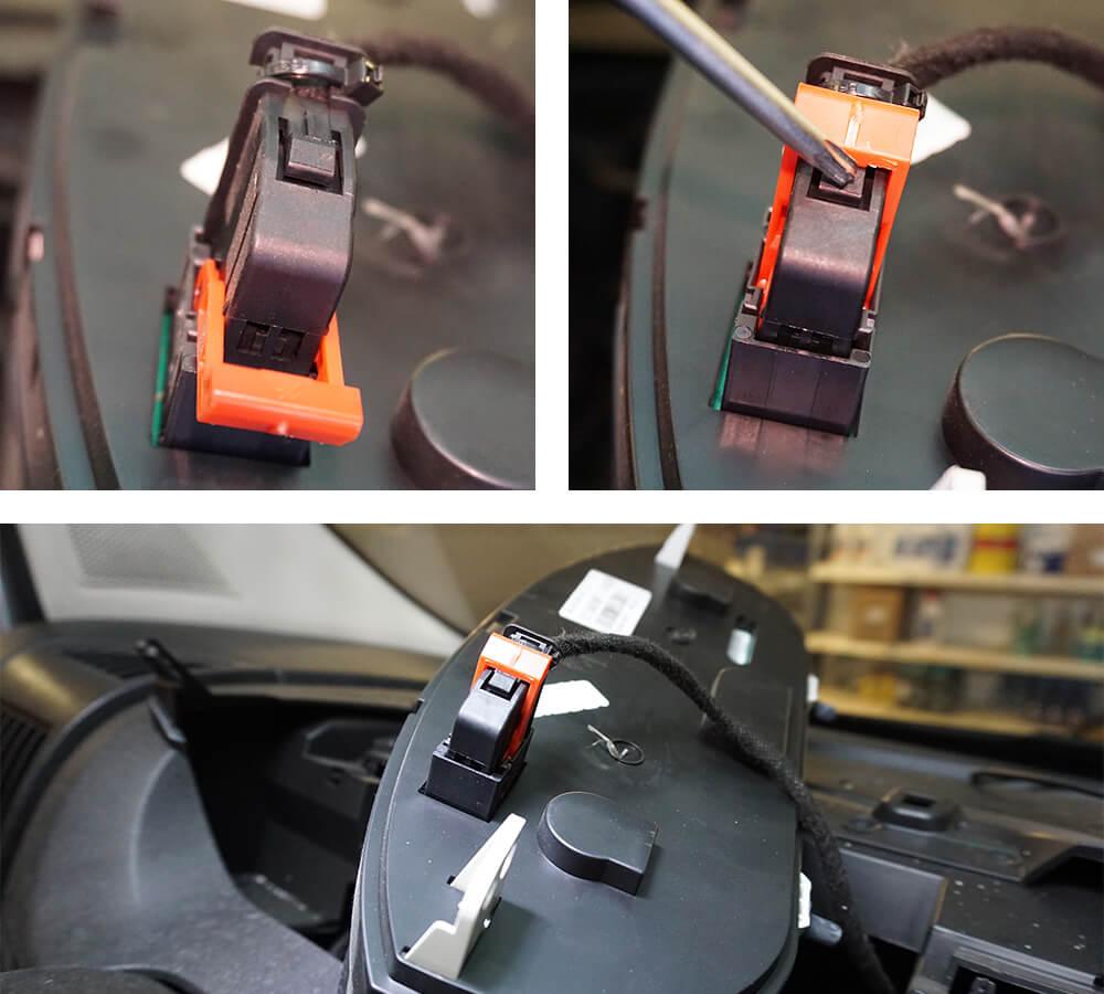 Mit einem Schraubendreher kannst du den Sicherungsbügel leicht umklappen.