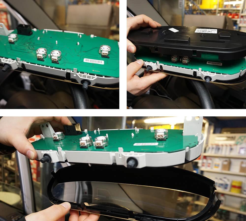 Das Kombiinstrument in seine drei Einzelteile zerlegt, gehalten von zwei Händen.