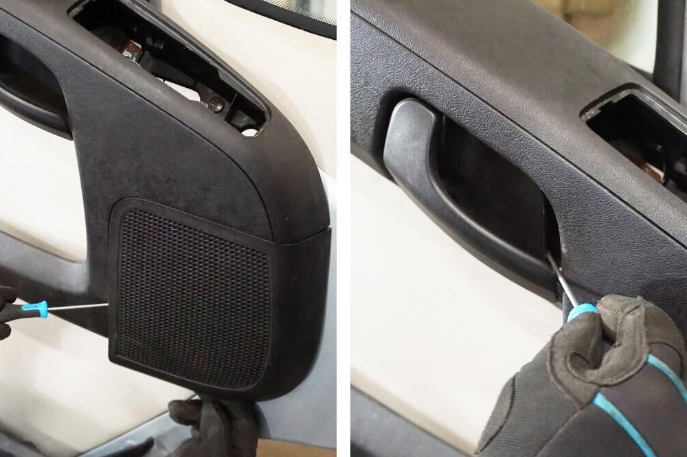 Entfernen der Abdeckung des Lautsprechers und Türgriff um an die Schrauben zu kommen