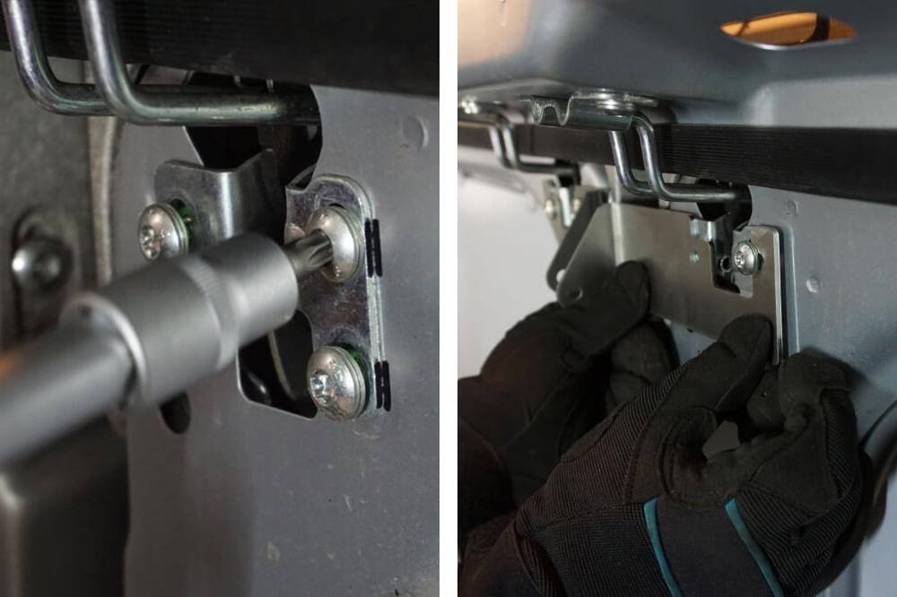 Markieren der Position des alten Schließzylinders und Befestigung der Sicherung für die Hecktür