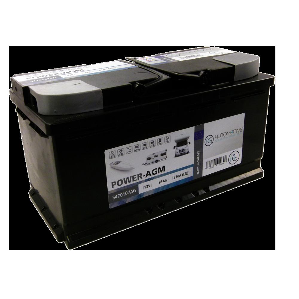 AGM-Batterie in schwarz-grauem Gehäuse.