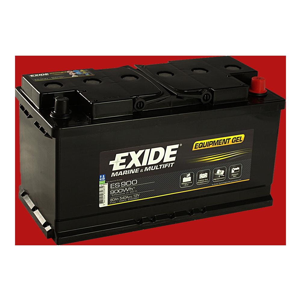Gel-Batterie mit 900 Wh in schwarzem Gehäuse.