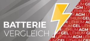 """Header eines Blogartikels mit einem Blitz und der Aufschrift """"Batterievergleich""""."""